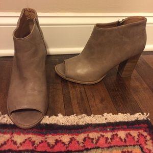 Peep toe heeled booties